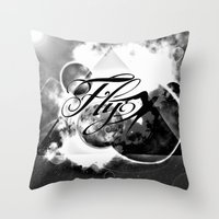 decal Throw Pillows featuring fly away bw by haroulita