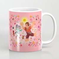 wreck it ralph Mugs featuring Sweet wall painting by princessbeautycase