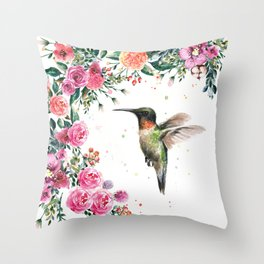Hummingbird and Flowers Watercolor Animals Throw Pillow