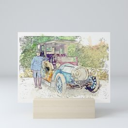 A Delaunay-Belleville limousine and chauffeur, somewhere in France. watercolor by Ahmet Asar Mini Art Print