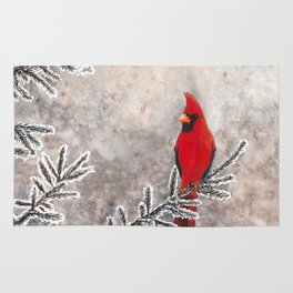 The Red Cardinal in winter Rug