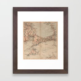 Vintage Map of Cape Cod MA (1905) Framed Art Print