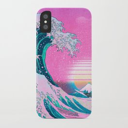 Vaporwave Aesthetic Great Wave Off Kanagawa Sunset iPhone Case