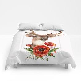 Deer with flowers 2 Comforters
