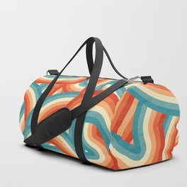Red, Orange, Blue and Cream 70's Style Rainbow Stripes Duffle Bag