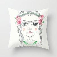 frida kahlo Throw Pillows featuring frida kahlo by Lisa Bulpin