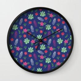 Pop Flower Blue Wall Clock