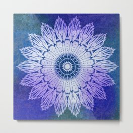 tie dye sunflower mandala in blues Metal Print