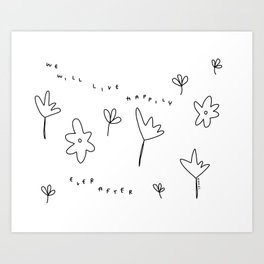 Live Happily Ever After Happy Plants Flowers Illustration Love Couple Gift Art Print