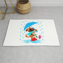 A dog with an umbrella and a flower is going to congratulate someone Rug