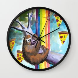 sloth pizza rainbow Wall Clock