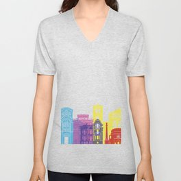 Thessaloniki skyline pop Unisex V-Neck