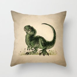 """""""Baby T-Rex"""" by Amber Marine ~ watercolor and ink, (Copyright 2013) Throw Pillow"""