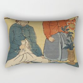 Seisha-Orandajin Nankin by Utagawa Yoshikazu (1848-1863) a traditional Japanese  of a Japanese print Rectangular Pillow