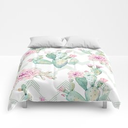 Cactus Chevron Southwestern Watercolor Comforters