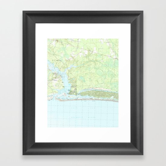 Oak Island North Carolina Map 1990 Framed Art Print By Bravuramedia Society6