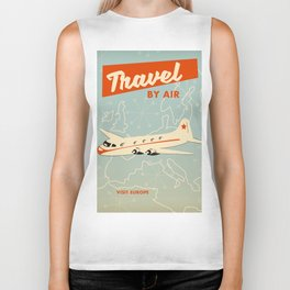 """1950s style """"by air"""" travel poster print. Biker Tank"""