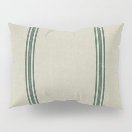 Green Stripes on Linen color background French Grainsack Distressed Country Farmhouse Pillow Sham