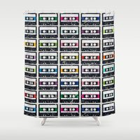 cassette Shower Curtains featuring Cassette Tapes by Julie's Fabrics & Thingummies