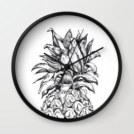 Pineapple Top Black and White Wall Clock