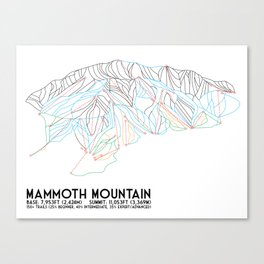 Mammoth Mountain, CA - Minimalist Trail Map Canvas Print