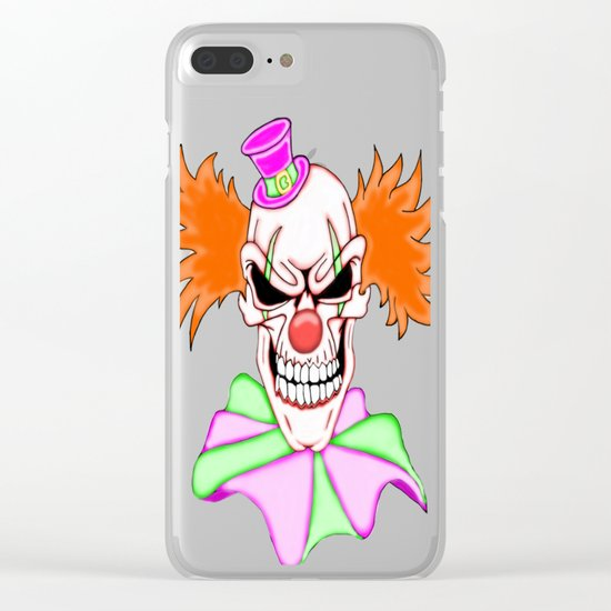 Demented Clown Skull Clear iPhone Case