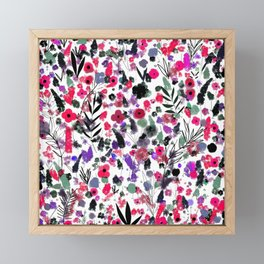 Flowers Nature drawing pink Black Green art Framed Mini Art Print
