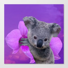 Koala and Orchid Canvas Print
