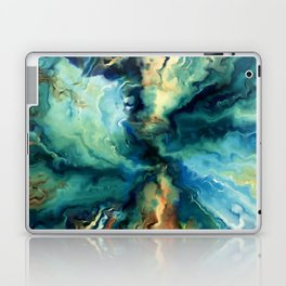 Marbled Ocean Abstract, Navy, Blue, Teal, Green Laptop & iPad Skin