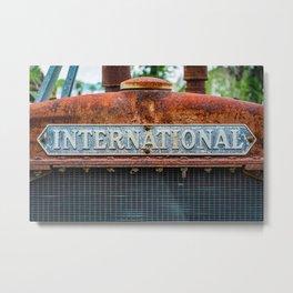 Rusting International Radiator Closeup Vintage Antique Tractor Rust Metal Print