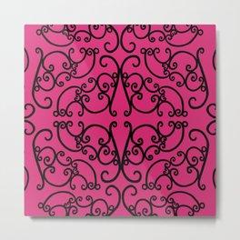 Pink Yarrow Filigree Metal Print