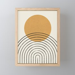 Gold Sun rainbow mid-century full Framed Mini Art Print