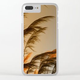 Sunset in autumn. Pampa grass Clear iPhone Case