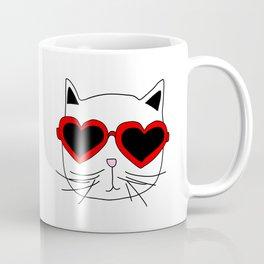 Cat Heart Sunglasses Coffee Mug