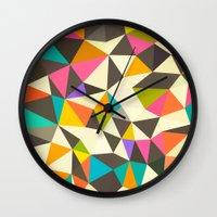 mod Wall Clocks featuring Mod Tris by Beth Thompson