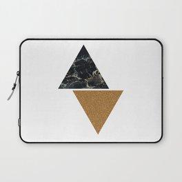 Dark marble and bronze geo Laptop Sleeve