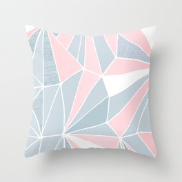 Cool blue/grey and pink geometric prism pattern Throw Pillow