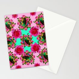 GREEN PEACOCK &  PINK ROSE GARDEN PINK PATTERN Stationery Cards