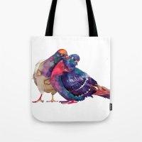 takmaj Tote Bags featuring Pigeons by takmaj