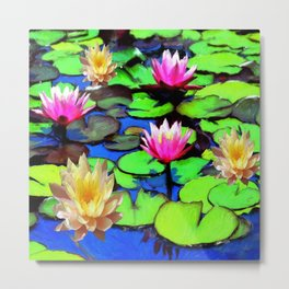 PINK & YELLOW WATER LILIES POND Metal Print