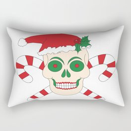 Creepy Christmas Santa Skull Rectangular Pillow