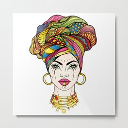 African Woman's Portrait Metal Print