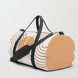 Geometric Lines in Black and Beige 14 (Rainbow and Sun Abstraction) Duffle Bag