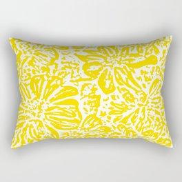 Marigold Lino Cut, Mustard Yellow Rectangular Pillow