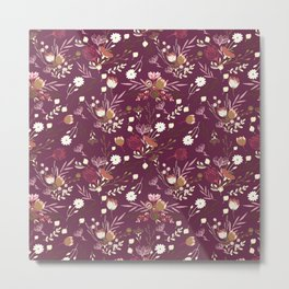Burgundy white blush pink hand painted floral Metal Print
