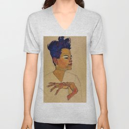SELF PORTRAIT WITH HANDS ON CHEST - EGON SCHIELE Unisex V-Neck