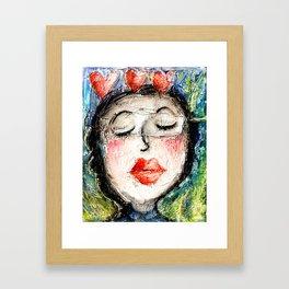 Girl Kiss Red Lips Love Hearts Framed Art Print