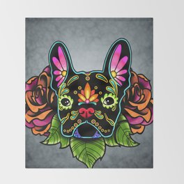 French Bulldog in Black - Day of the Dead Bulldog Sugar Skull Dog Throw Blanket
