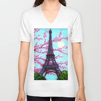 eiffel tower V-neck T-shirts featuring Eiffel Tower by ArtLovePassion