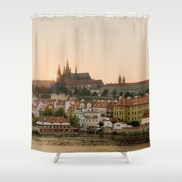 Prague Castle and Vltava river at sunset Shower Curtain